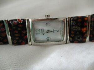 Montres de Fleur Silver Toned Women's Bracelet Wristwatch