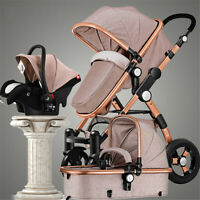 Pro Baby Stroller 3 in 1 High View Pram Foldable Pushchair Bassinet & Car Seat !