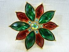 Vintage 1980's Christmas Green & Red Poinsettia Faux & AB Crystal Brooch/Pin