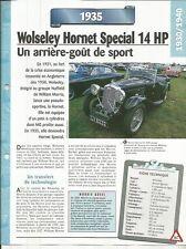 FICHE AUTOMOBILE - WOLSELEY HORNET SPÉCIAL 14 HP 1935