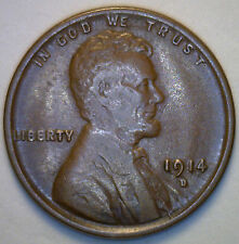 1914 D Lincoln Wheat Copper Penny 1 Cent US United States Coin XF