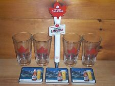MOLSON CANADIAN TAP HANDLE KEG MARKER 4 BEER PINT GLASSES & 30 COASTERS NEW