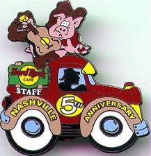 Hard Rock Cafe NASHVILLE 1999 5th Anniversary STAFF PIN Pig Guitar on Truck 6235
