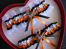 Wedding Garters Orange White Black - HARLEY MOTORCYCLES