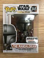 Mint! Funko POP! Star Wars The Mandalorian Chrome Amazon Exclusive #345 In Hand