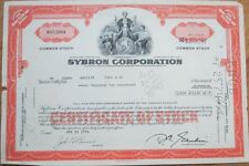 1974 Stock Certificate: 'Sybron Corporation' - Dental/Medical - Orange