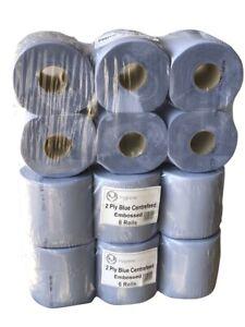 CENTREFEED 18 Rolls - 2 Ply Blue Rolls Multi-Purpose Paper
