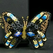 Butterfly Brooch Black Embroidery Pin Hand Made Beaded Pin Black Gothic Brooch