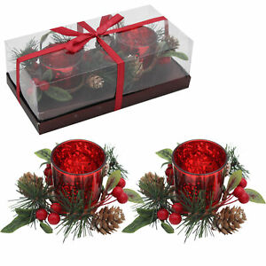 Christmas Double Red Glass Tea Light Holder with Wreath Decoration and Candle