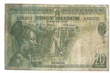 20 francs 1954 Belgian Congo Rwanda-Burundi Pick 26 15.04.55 Belge Belgisch p f