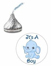 108 ITS A BOY ELEPHANT BABY SHOWER HERSHEY KISS KISSES CANDY STICKERS **
