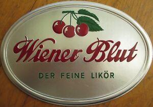 Cherry Liqueur/Liquor 1950s Silver-Embossed Advertising Sign: 'Wiener Blut'