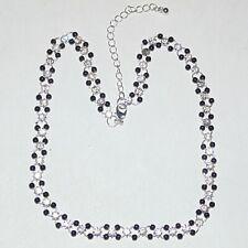 "Prong set clear rhinestone black acrylic beads on rings fashion necklace 16""-18"""
