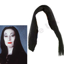 CHILDRENS KIDS GIRLS MORTICIA LONG BLACK WIG ADDAMS FAMILY FANCY DRESS HALLOWEEN