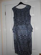 Blue and Cream Lace Sleeveless Shift Dress with Peplum Waist Size 14