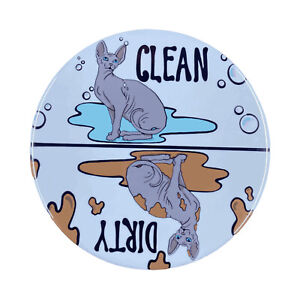 Black Sphynx Hairless Cat Dishwasher Magnet Clean Dirty Kitchen Cleaning Decor