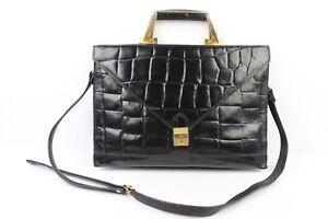 Vintage Bag Schoolbag Shoulder Strap Black Leather Way Croc Very Good Condition