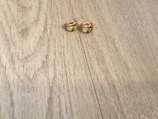 Small Huggie Hoop Earrings 14K Yellow Open Basket Weave Earrings.
