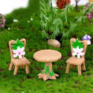 3Pcs Floral Table Chairs Miniature Landscape Fairy Garden Dollhouse DecoratiY TP