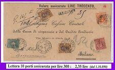 54815 - REGNO: UMBERTO I - STORIA POSTALE : FRONTESPIZIO tariffa 2,35 Lire  1900