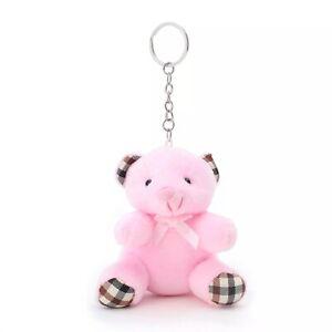 Teddy Bear Cute Pink Soft Toy Keyring Keychain - UK Seller