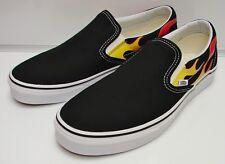 Vans Classic Slip-On (Flame) Black/Black/ True White VN-0A38F7PHN Men's Size: 9