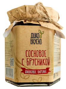 Jam from young pine cones with lingonberries collected in Siberian forests 220gr