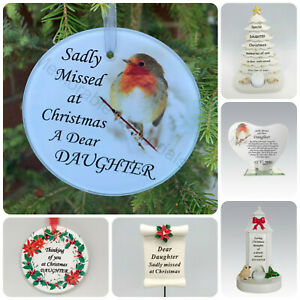 Daughter Christmas Memorial Tributes - Xmas Tree Robin Bauble Candle Book Plaque