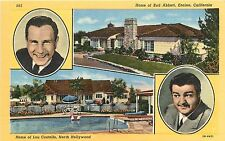 Homes of Bud Abbott (Encino) & Lou Costello (North Hollywood) CA 1930s Postcard