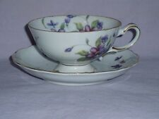 White With Purple Flowers Lilacs? Gold Trim Paragon Footed Teacup & Saucer Set