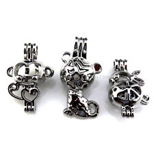 21677 3X/lot Silver Animal Monkey Cat Rabbit Bead Pearl Cage Locket Open Pendant