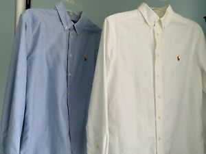 TWO Ralph Lauren Boy's Cotton Oxford Shirts in Blue and White,  Size L (14-16)