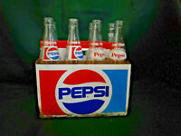 Vintage Lot of 8 Pepsi-Cola Clear Glass Swirl Bottles One Pint 16 oz.,in Carton