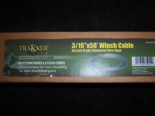 "Trakker Kt2500 & Kt300 Series 3/16"" x 50' Winch Cable Aircraft Grade Wire Rope"