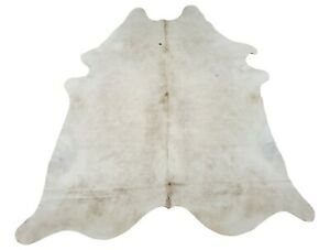 Cream White Cowhide Rug New Brazilian Real Natural Authentic 7ft x 6.4ft