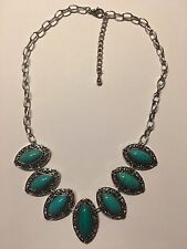 Fashion TEARDROP Turquoise Gemstone 925 STERLING Silver Plated Necklace-N1375