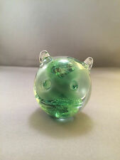 KERRY GLASS CAT FELINE FIGURE PAPERWEIGHT GREEN SWIRL MARBLEIZED MADE IN IRELAND