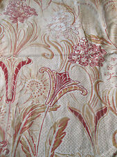 Antique French Art Nouveau Stylized Floral Cotton Fabric #2~Burgundy Red Caramel