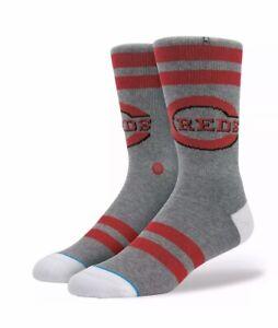 Stance MLB Cincinnati Reds Diamond Series Riverfront Socks Gray/Red Sz S/M 6-8.5