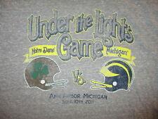 MICHIGAN WOLVERINES UNDER LIGHTS GAME T SHIRT Football Notre Dame Adidas MEDIUM