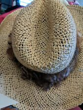 RESISTOL STAGECOACH STRAW WESTERN HAT WITH FEATHER BAND LONG OVAL SIZE 7 1/8
