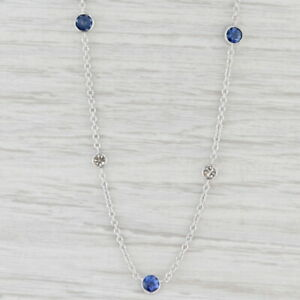 "1.61ctw Blue Sapphire Diamond Station Necklace 14k White Gold 16-18"" Adjustable"