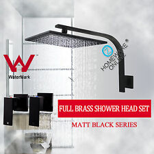 Watermark Black Square 10'' Shower Head Rose Set 1/4 Twin Vanity Taps Full Brass