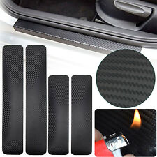 4Pcs Car Accessory Door Sill Scuff Welcome Pedal Protect Carbon Fiber Stickers