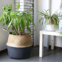 Handmade Seagrass Storage Basket Wicker Rattan Belly Straw Garden Flower Pot