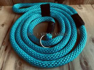 """DOG SLIP LEAD-ROPE-L/XL-up to 120 lb TURQUOISE -1/2"""" X 6' LONG FREE SHIP (346)"""