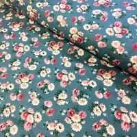 Country Wildflowers Fabric Medium Print Calico Pink Flowers on Blue 100% Cotton