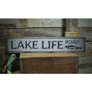Lake Life Road Vintage Distressed Sign, Personalized Wood Sign
