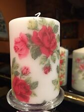 CATH KIDSTON ROYAL ROSES WHITE HAND DECORATED PILLAR CANDLE 50hrs 10x6cm LIMITED