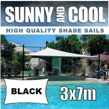 HEAVY DUTY SHADE SAIL-3x7M RECTANGLE IN BLACK  3mx7m